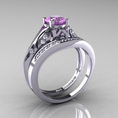 Classic Armenian 14K White Gold 1.0 Ct Lilac Amethyst Diamond Engagement Ring Wedding Band Set R477S-14KWGDLAM-1