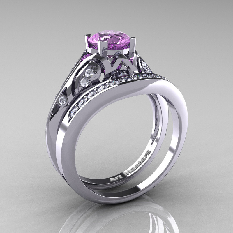 Classic armenian 14k white gold 10 ct lilac amethyst for Amethyst diamond wedding ring set