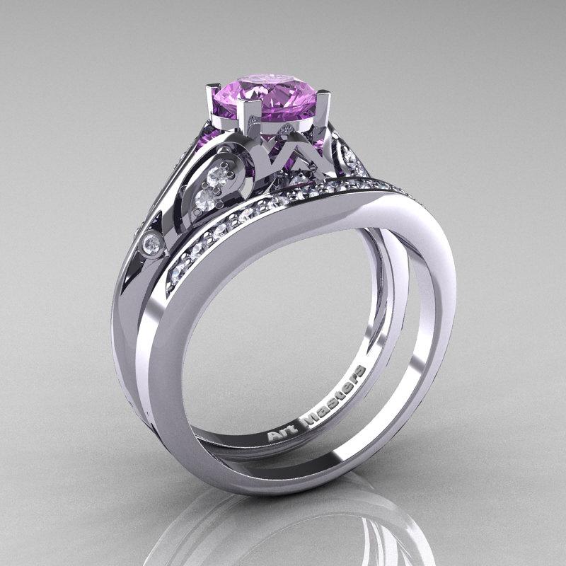 Clic Armenian 14k White Gold 1 0 Ct Lilac Amethyst Diamond Engagement Ring Wedding Band Set R477s