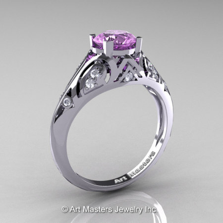 Classic Armenian 14K White Gold 1.0 Ct Lilac Amethyst Diamond Engagement Ring R477-14KWGDLAM-1