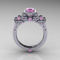Classic Armenian 950 Platinum 1.0 Ct Princess Light Pink Sapphire Solitaire Wedding Ring R608-PLATLPS-1
