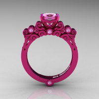 Classic Armenian 14K Fuchsia Pink Gold 1.0 Ct Light Pink Sapphire Solitaire Wedding Ring R608-14KPGLPS-1