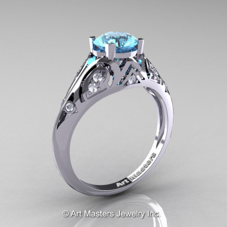 Classic Armenian 14K White Gold 1.0 Ct Swiss Blue Topaz Diamond Engagement Ring R477-14KWGDSBT-1