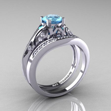 Classic Armenian 14K White Gold 1.0 Ct Swiss Blue Topaz Diamond Engagement Ring Wedding Band Set R477S-14KWGDSBT-1