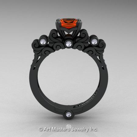 Classic Armenian 14K Matte Black Gold 1.0 Ct Orange Sapphire Diamond Solitaire Wedding Ring R608-14KMBGDOS-1