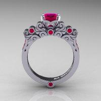 Classic Armenian 950 Platinum 1.0 Ct Princess Rose Rubies Solitaire Wedding Ring R608-PLATRR-1