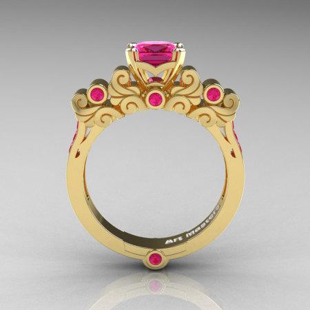 Classic Armenian 18K Yellow Gold 1.0 Ct Princess Pink Sapphire Solitaire Wedding Ring R608-18KYGPS-1