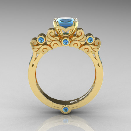 Classic Armenian 18K Yellow Gold 1.0 Ct Princess Swiss Blue Topaz Solitaire Wedding Ring R608-18KYGSBT-1