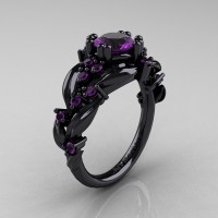 Nature Classic 14K Black Gold 1.0 Ct Amethyst Leaf and Vine Engagement Ring R340-14KBGAM