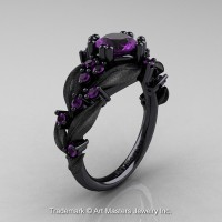 Nature Classic 14K Black Gold 1.0 Ct Amethyst Leaf and Vine Engagement Ring R340S-14KBGAM