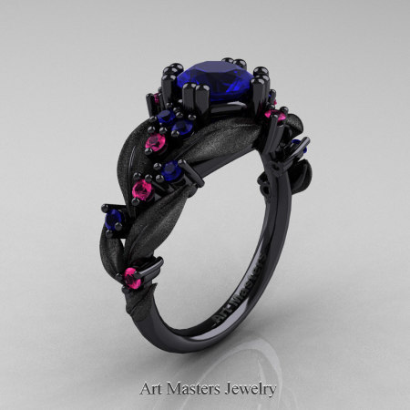 Nature-Classic-14K-Black-Gold-1-0-Ct-Blue-Sapphire-Blue-Pink-Sapphire-Leaf-and-Vine-Engagement-Ring-R340S-14KBGPSBS-P