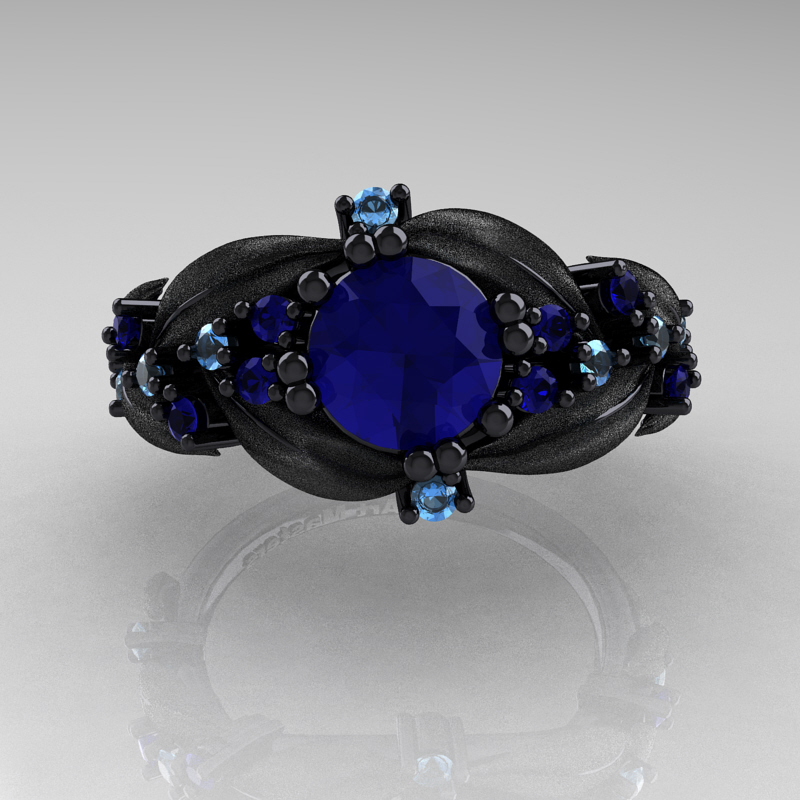 Nature Classic 14K Black Gold 1 0 Ct Blue Sapphire Blue Topaz Leaf and Vine E