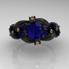 Nature-Classic-14K-Black-Gold-1-0-Ct-Blue-Sapphire-Champagne-Diamond-Leaf-and-Vine-Engagement-Ring-R340S-14KBGCHDBS-T