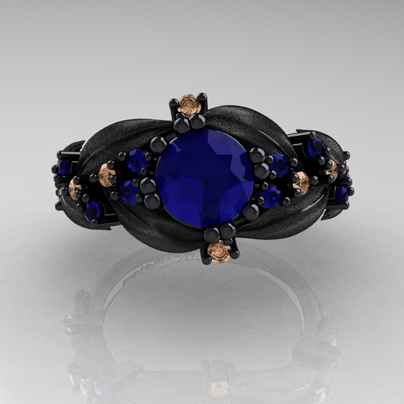 Nature Classic 14K Black Gold 1 0 Ct Blue Sapphire Champagne Diamond Leaf and