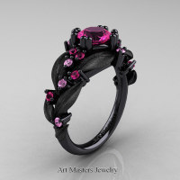 Nature Classic 14K Black Gold 1.0 Ct Pink Sapphire Leaf and Vine Engagement Ring R340S-14KBGLPSPS Perspective