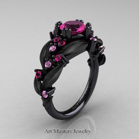 Nature-Classic-14K-Black-Gold-1-0-Ct-Pink-Light-Pink-Sapphire-Leaf-and-Vine-Engagement-Ring-R340S-14KBGLPSPS-P
