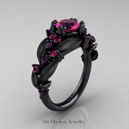 Nature-Classic-14K-Black-Gold-1-0-Ct-Pink-Sapphire-Amethyst-Leaf-and-Vine-Engagement-Ring-R340S-14KBGAMPS-P
