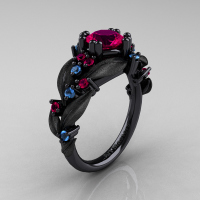 Nature Classic 14K Black Gold 1.0 Ct Rose Ruby Blue Topaz Leaf and Vine Engagement Ring R340S-14KBGBTRR Perspective