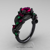 Nature Classic 14K Black Gold 1.0 Ct Rose Ruby Emerald Leaf and Vine Engagement Ring R340S-14KBGEMRR Perspective