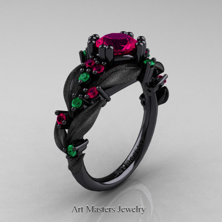 Nature-Classic-14K-Black-Gold-1-0-Ct-Rose-Ruby-Emerald-Leaf-and-Vine-Engagement-Ring-R340S-14KBGEMRR-P