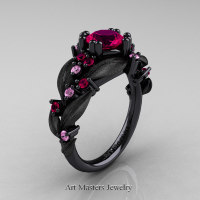 Nature Classic 14K Black Gold 1.0 Ct Rose Ruby Light Pink Sapphire Leaf and Vine Engagement Ring R340S-14KBGLPSRR Perspective