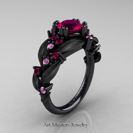 Nature-Classic-14K-Black-Gold-1-0-Ct-Rose-Ruby-Light-Pink-Sapphire-Leaf-and-Vine-Engagement-Ring-R340S-14KBGLPSRR-P