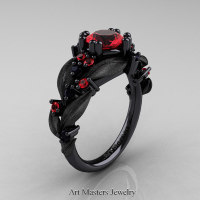 Nature Classic 14K Black Gold 1.0 Ct Ruby Black Diamond Leaf and Vine Engagement Ring R340S-14KBGBDR Perspective