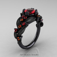 Nature Classic 14K Black Gold 1.0 Ct Ruby Orange Sapphire Leaf and Vine Engagement Ring R340S-14KBGOSR Perspective