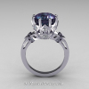 Classic Tatyana 14K White Gold 3.0 Ct Russian Alexandrite Princess CZ Solitaire Wedding Ring R303-14WGCZAL