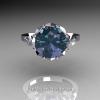 Classic Tatyana 14K White Gold 3.0 Ct Russian Alexandrite Princess CZ Solitaire Wedding Ring R303-14WGCZAL