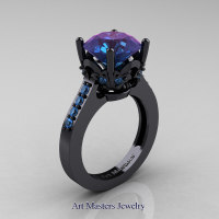 Classic 14K Black Gold 3.0 Carat Russian Alexandrite Blue Topaz Solitaire Wedding Ring R301-14KBGBTAL by Art Masters Jewelry