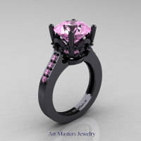 Classic 14K Black Gold 3.0 Carat Light Pink Sapphire Solitaire Wedding Ring R301-14KBGLPS by Art Masters Jewelry