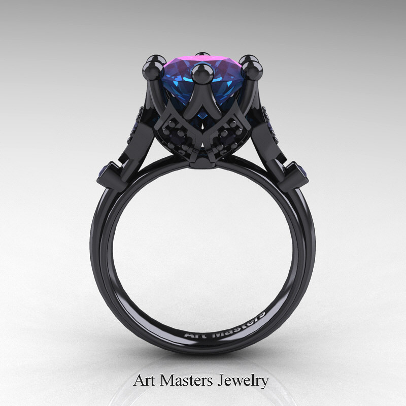 Modern Antique 14k Black Gold 3 0 Carat Alexandrite Black