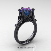 Modern Antique 14K Black Gold 3.0 Carat Alexandrite Black Diamond Solitaire Wedding Ring R514-14KBGBDAL - Perspective