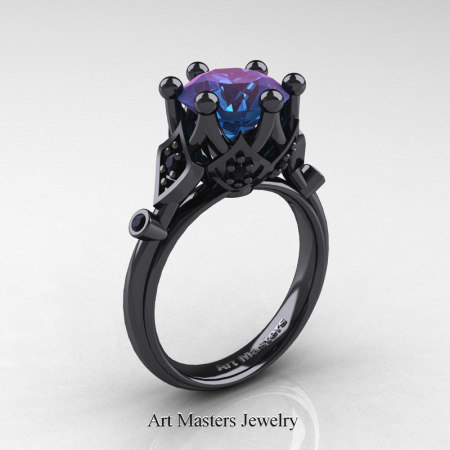 Modern-Antique-14K-Black-Gold-3-Carat-Alexandrite-Black-Diamond-Solitaire-Wedding-Ring-R514-14KBGBDAL-P