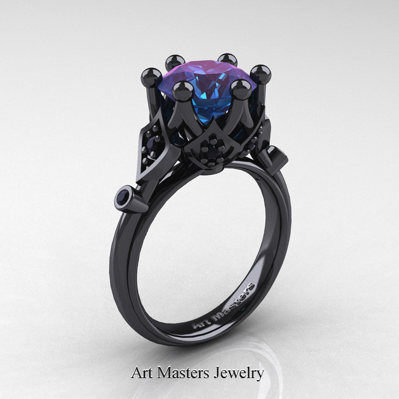 modern antique 14k black gold 3 carat alexandrite - Alexandrite Wedding Ring