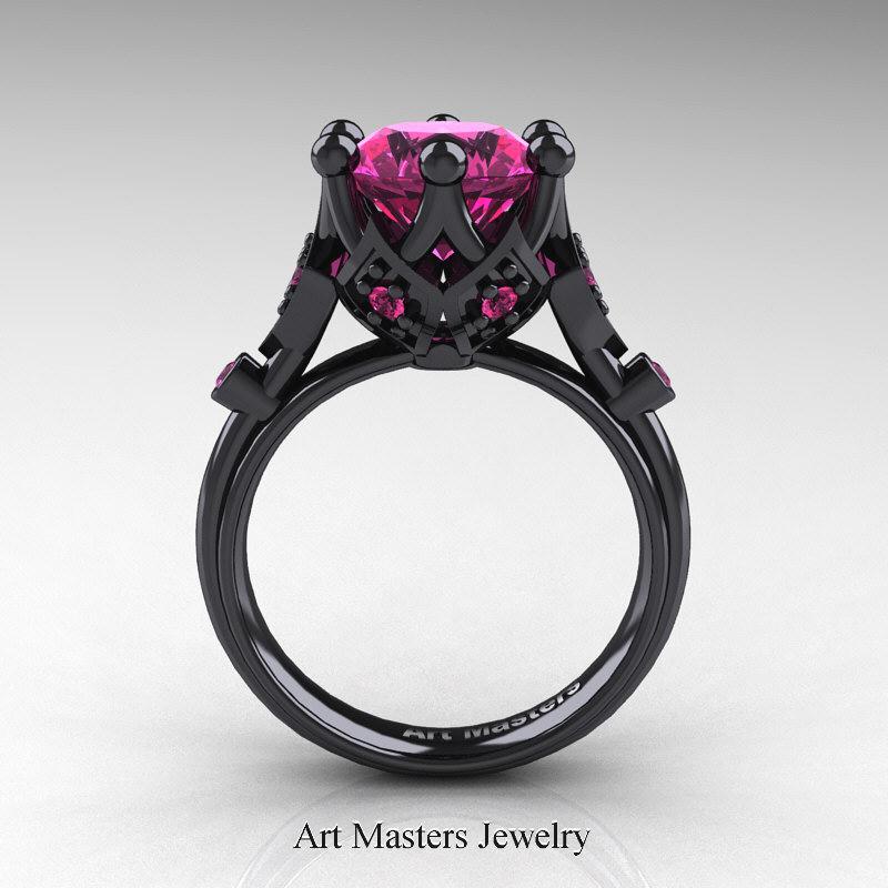 modern antique 14k black gold 3 carat pink - Black And Pink Wedding Rings