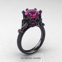 Modern Antique 14K Black Gold 3.0 Carat Pink Sapphire Solitaire Wedding Ring R514-14KBGPS - Perspective