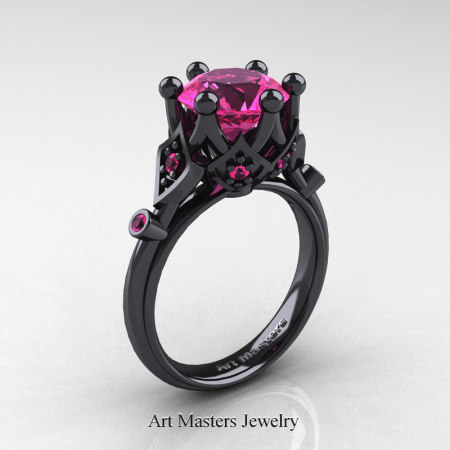 Modern-Antique-14K-Black-Gold-3-Carat-Pink-Sapphire-Solitaire-Wedding-Ring-R514-14KBGPS-P
