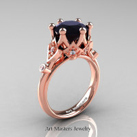 Modern Antique 14K Rose Gold 3.0 Carat Black and White Diamond Solitaire Wedding Ring R514-14KRGDBD - Perspective