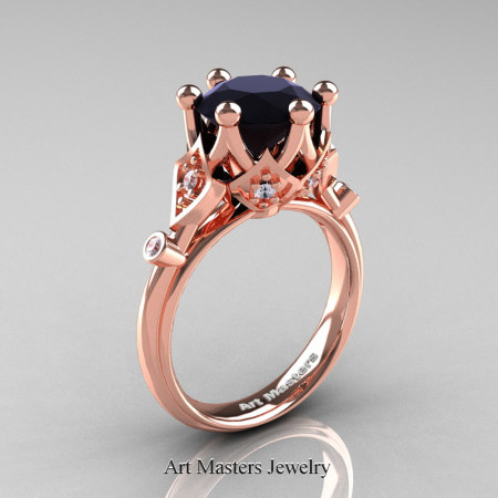 Modern-Antique-14K-Rose-Gold-3-Carat-Black-White-Diamond-Solitaire-Wedding-Ring-R514-14KRGDBD-P