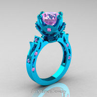Modern Antique 14K Turquoise Gold 3.0 Carat Light Pink Sapphire Solitaire Wedding Ring R214-14KTGLPS - Perspective