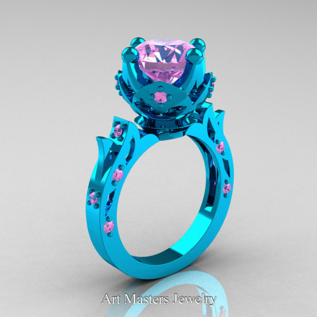 Modern-Antique-14K-Turquise-Gold-Light-Pink-Sapphire-Solitaire-Wedding-Ring-R214-14KTGLPS-P