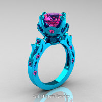 Modern Antique 14K Turquoise Gold 3.0 Carat Pink Sapphire Solitaire Wedding Ring R214-14KTGPS - Perspective