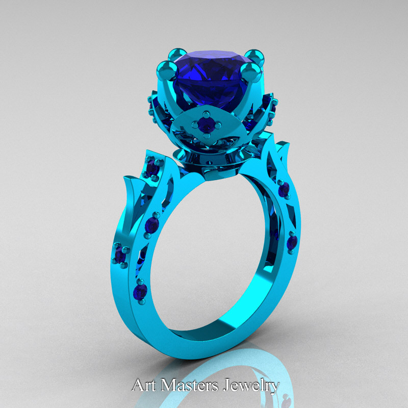 Modern Antique 14K Turquoise Gold 30 Carat Blue Sapphire Solitaire Wedding Ring R214 14KTGBS