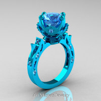 Modern Antique 14K Turquoise Gold 3.0 Carat Aquamarine Solitaire Wedding Ring R214-14KTGAQ - Perspective