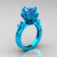 Modern Antique 14K Turquoise Gold 3.0 Carat Aquamarine Solitaire Wedding Ring R214-14KTGAQ - Perspective