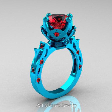 Modern-Antique-14K-Turquise-Gold-White-Rubies-Solitaire-Wedding-Ring-Bridal-Set-R214S-14KTGR-P