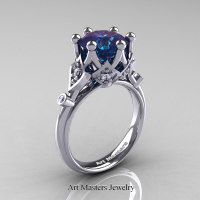 Modern Antique 14K White Gold 3.0 Carat Alexandrite Diamond Solitaire Wedding Ring R514-14KWGDAL - Perspective