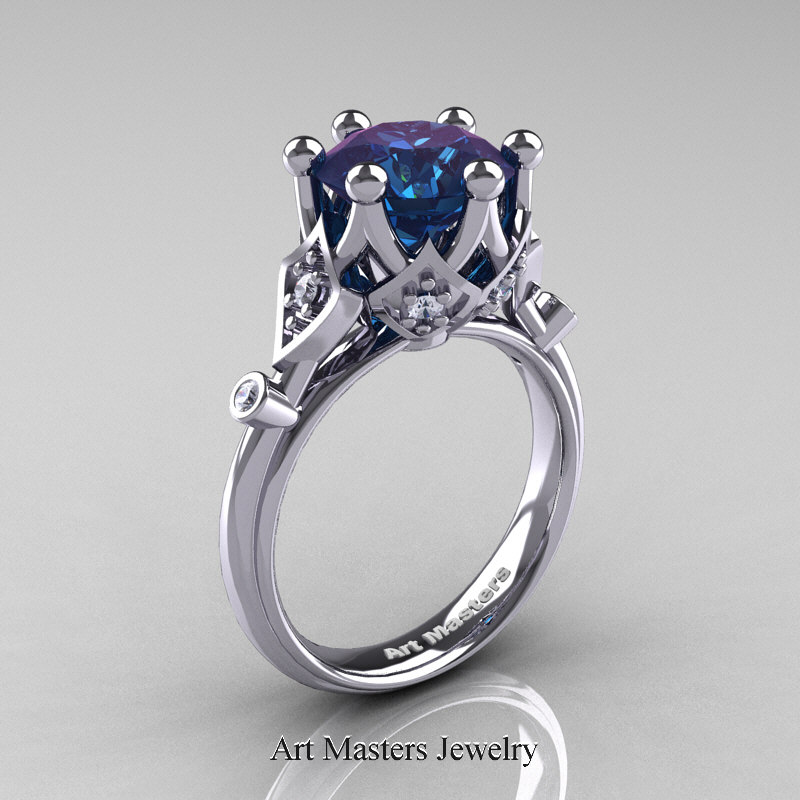 modern antique 14k white gold 3 carat alexandrite - Solitaire Wedding Rings